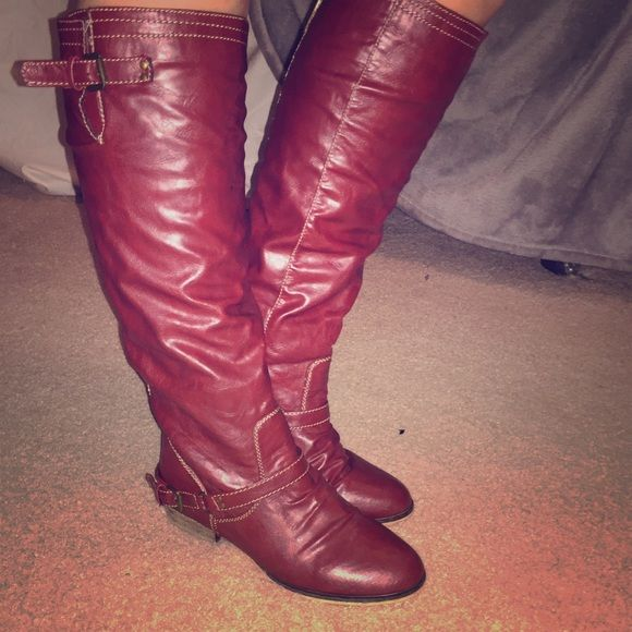 Dark red knee high boots! Dark red knee high boots with red zipper! Super cute and only worn a couple of times. Breckelles Shoes Over the Knee Boots