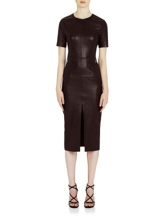 Jane Fonda Leather Tee Dress #davidjones #fashion #burgundy #trend