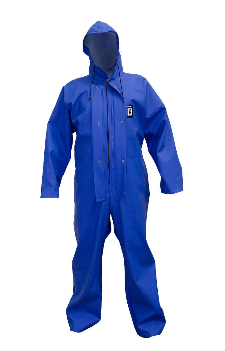 WATERPROOF OVERALL Model: 104 The overall is fastened with hidden zip under a storm flap with a hood, sleeves and legs with windstoppers. The product is made of PVC/polyester fabric, called Plavitex. Thanks to double welded high frequency seams the product protects against rain and wind. The product conforms with the EN ISO 13688 and EN 343 standards.