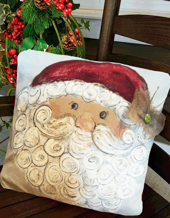 Santa claus winking st nick christmas holiday decor for Hand painted pillows