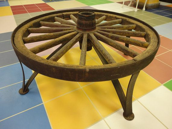Country Rustic Wagon Wheel Coffee Table by JunktiqueRecycling, $650.00