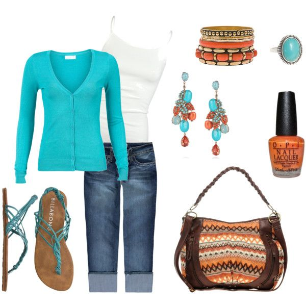 Outfit: Colors Combos, Orange, Summer Evening, Clothing, Turquoi Earrings, Coral Turquoi, Spring Outfits, Bags, My Style