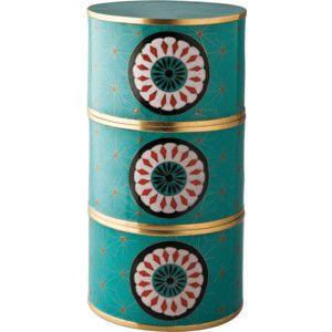 Piling Palang Turquoise Daisies Cloisonné Storage Box
