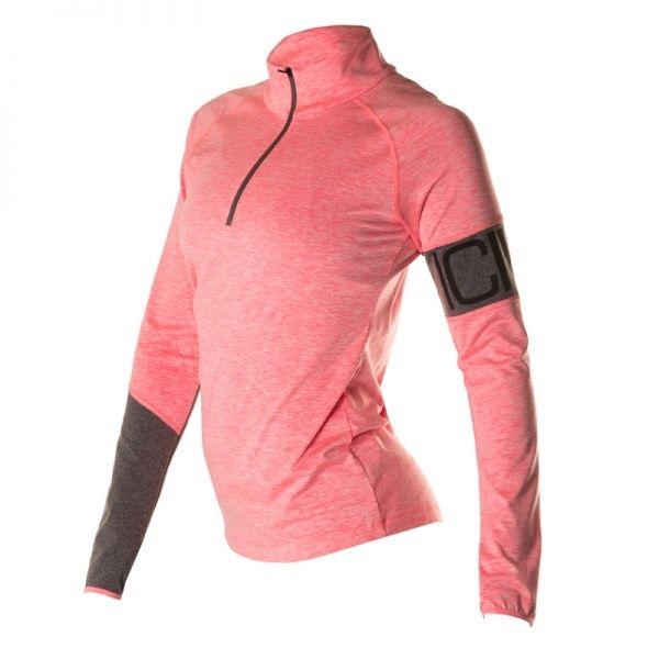 Melange Insert Long Sleeve Zip Dame - Grey / Pink  Superbehagelig og fresh langermet genser med zip fra ICANIWILL.