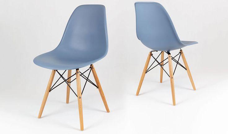 chaise scandinave bleu et bois