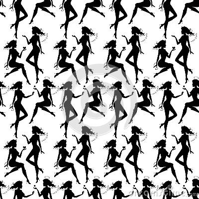 Seamless pattern with silhouettes by Mariykaa, via Dreamstime