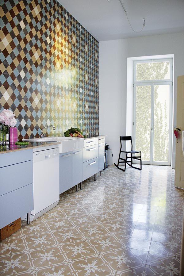 Mosaikfliesen, Zementfliesen, Kreidefarbe, Terrazzoplatten