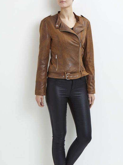 BIKER JAKKE, Oak Brown