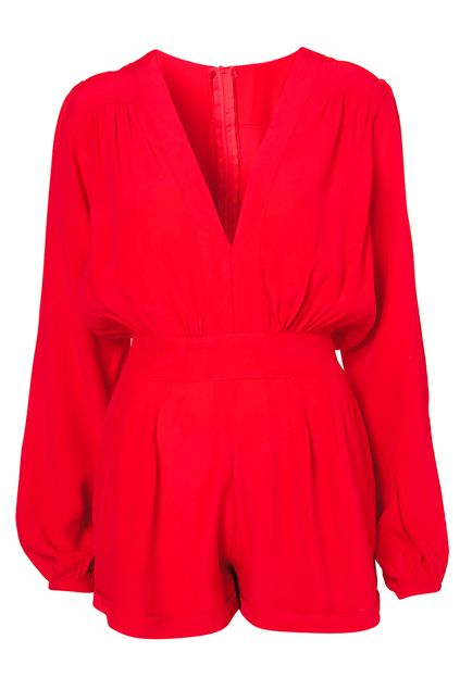 $39 ROMWE   ROMWE V-neck Pleated Red Playsuit, The Latest Street Fashion