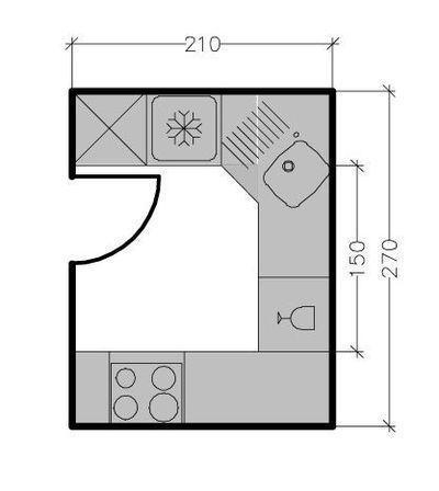 Plans de cuisine ferm e de 3 9 m2 kitchen cuisine ferm e plan cuisine et amenagement - Amenagement petite cuisine en u ...