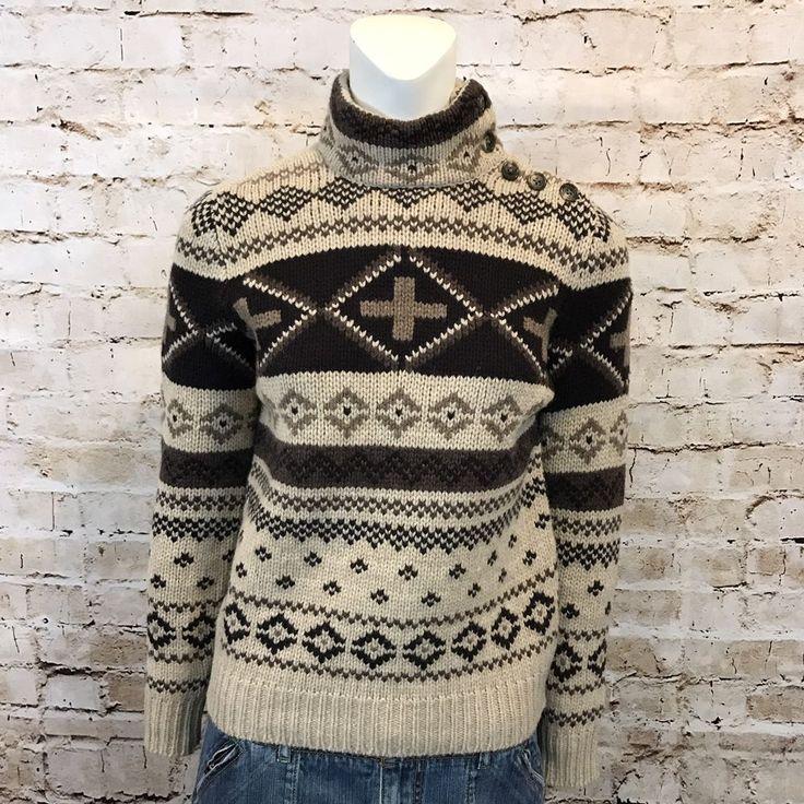 Lauren Ralph Lauren Womens P/P Lambswool Sweater Brown Button Neck Long Sleeve  | eBay