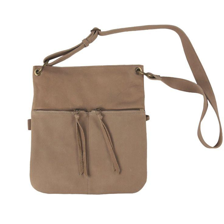 Label 88 grote leren tas Soho 2-pocket ivory - lekker veel vakken!
