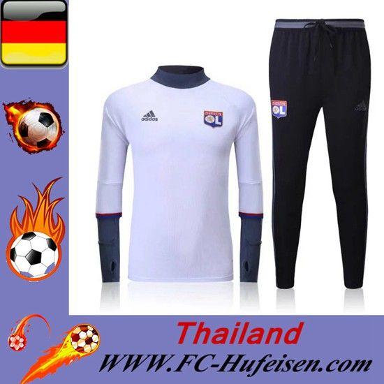 Neues Trainingsanzüge Fussball Herren Kits Lyon OL Weiß Saison 2016 2017 Discount Outlet