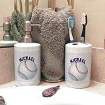 Soap Dispenser and Tooth Brush Holders personalized with your name. Many designs to choose from or send your photo.