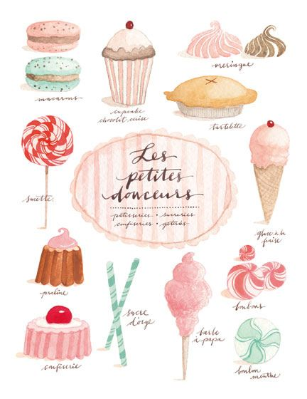 """La Vie est Belle"" Life is Beautiful. by Eva Juliet. Especially when paper and desserts look this good. #pink #desserts #watercolor"