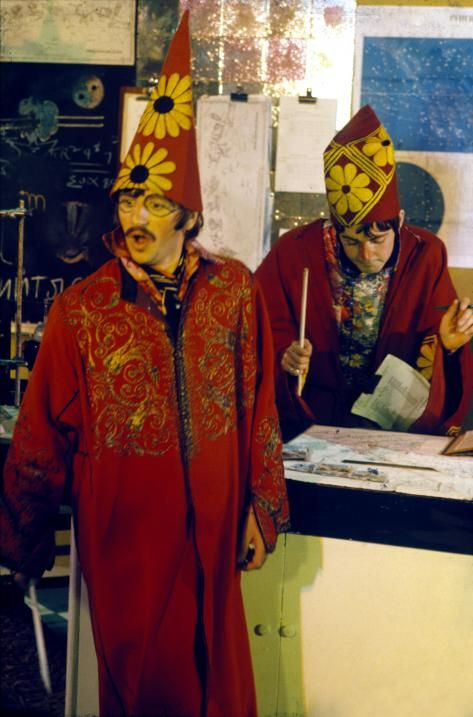 """Paul & Ringo as magicians during filming of """"Magical Mystery Tour"""" - The Beatles"""