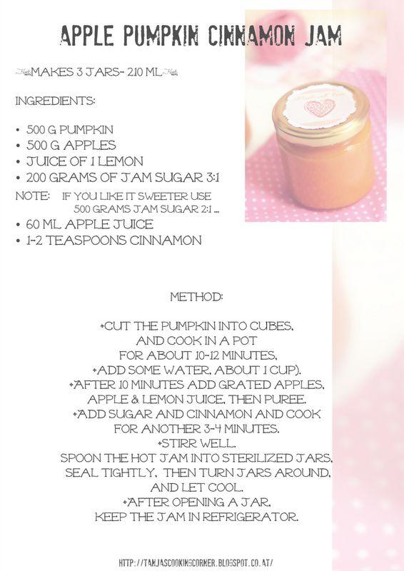 Tanjas Cooking Corner: Pumpkin Apple Cinnamon Jam & Printable Jam Labels/ džem od bundeve, jabuke i cimeta & naljepnice za džem