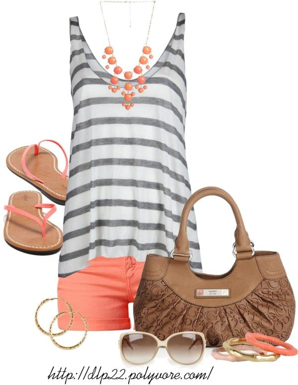 """Coral Summer"" by dlp22 ❤ liked on Polyvore . Would also be cute w/ coral jeans rolled up ."