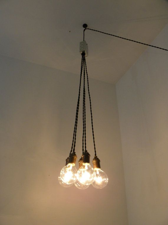 Plug In SWAG Cluster Chandelier Pendant by HangoutLighting on Etsy, $165.00 (basement stairwell)
