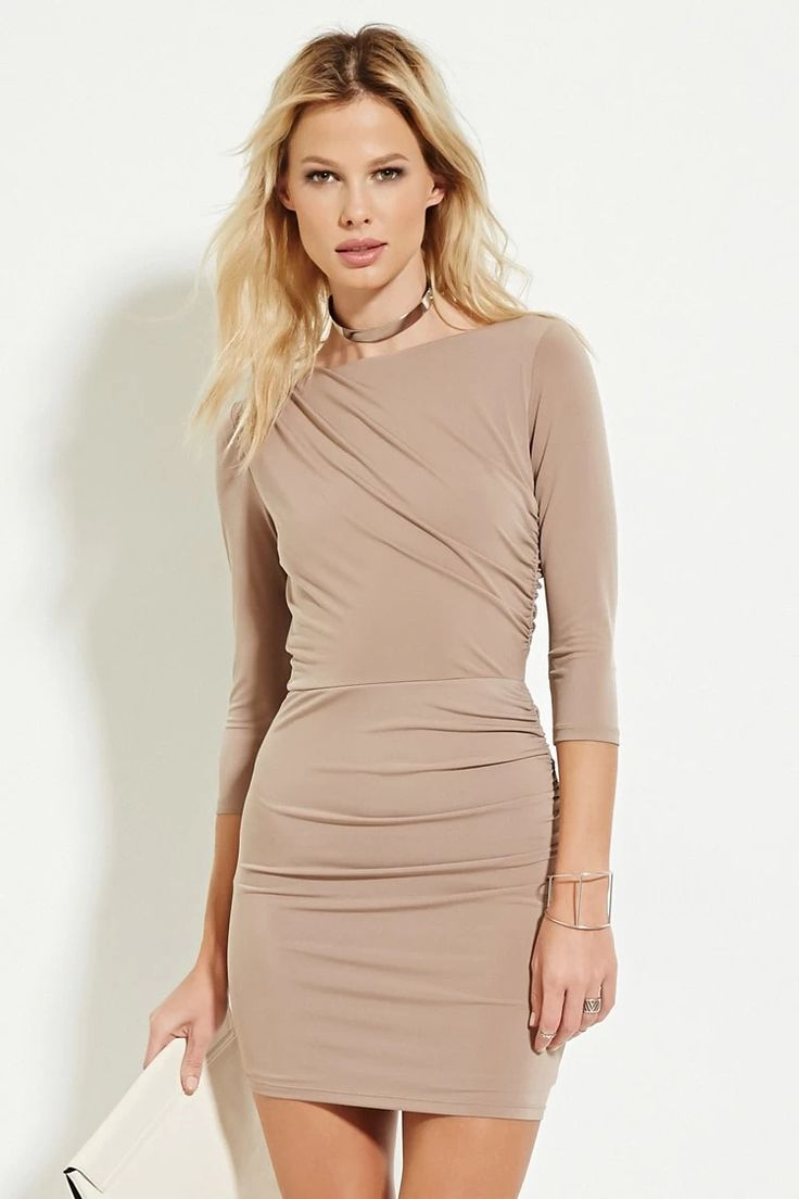A knit bodycon dress with 3/4 sleeves, a boat neckline, a gathered accent along one shoulder, and gathered accents down one side. #nowtrending
