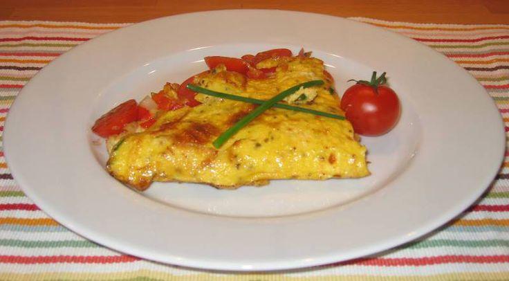Omelett med skinke og ost