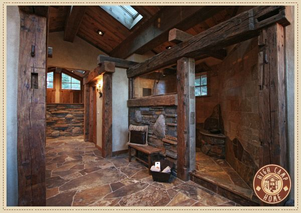 Love the stone floor and rustic shower