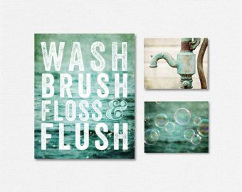 BATHROOM PRINT SET This listing features a curated set of four soft aqua prints perfect for the bathroom. Featuring two beach landscapes, a rustic water pump and a soft teal hydrangea. Display these four prints as a wall gallery, on separate walls, stacked - any way you choose! Their soft pastel blue colors tie your cottage bathroom decor together perfectly. $ Price reflects a 20% discount off photographs and 10% off canvas. ☞ Select PHOTOGRAPHS or CANVASES + Size from drop-down list. ✕…