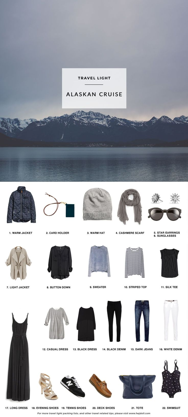 What to Pack for a 11 Day Alaskan Cruise, including formalwear and clothing to explore in. All fits in a carryon!