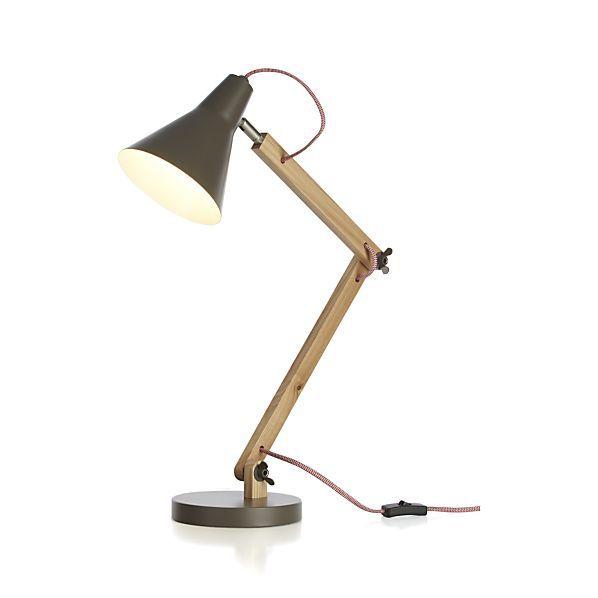 "Rex Grey Task Lamp  | Crate and Barrel 60w 25""h $99 S&D bedrm?"