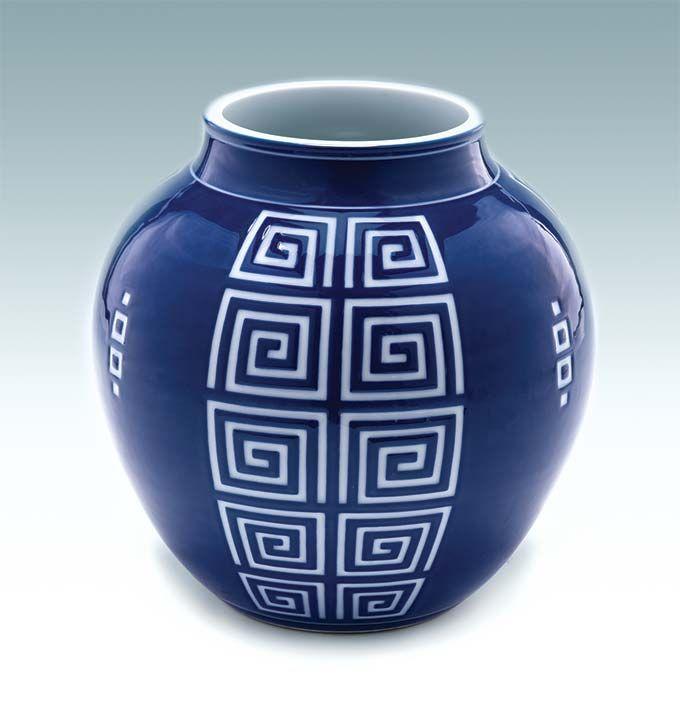Gyobu Kiyoshi, Vase with Thunder Pattern Design, c. 1930s