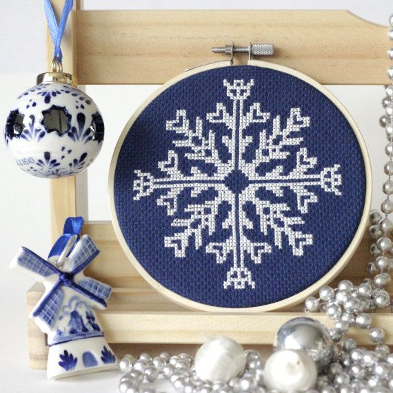 Xmas Cross Stitch Snowflake Winter Cross Stitch Chart Snow Holiday DIY Ornament Unique Snowflake Printable Pattern Winter DIY Xmas Project
