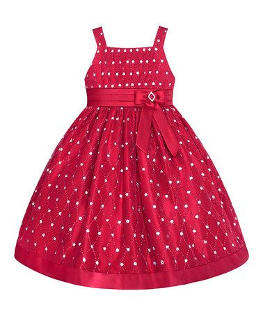 Take a look at this Holiday Red Rhinestone Lattice Dress - Toddler & Girls by LOVE on #zulily today!