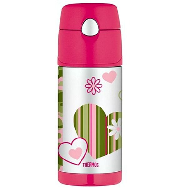 Thermos Funtainer-355 ml Stainless Steel Kids Drink Bottle-Camo Chick- The Thermos Funtainer kids drink bottle in stainless steel and with a straw for easy sipping,  is cute, durable and is the perfect blend of Thermos practicality and stylish designs. #forkids #thermos #drinkingbottle