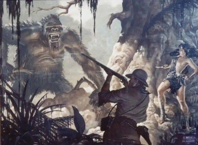 Este dibujo muestra un inmenso gorila que tiene como rehén a una joven y semidesnuda mujer, la cual es ayudada por un valiente cazador, que dispara contra el monstruo. Todos estos bocetos y dibujos contribuirían a darle un halo hechizante a la película, de principio a fin.