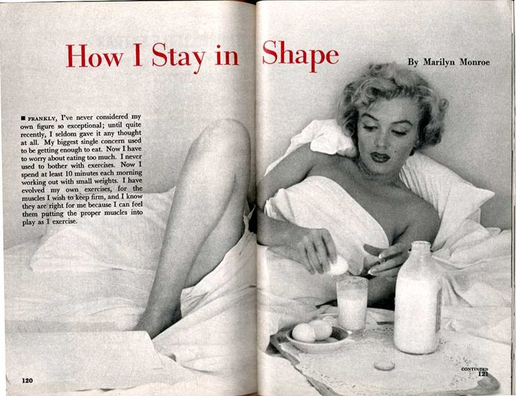 "Article by Marilyn Monroe on fitness.  Interesting to see how times have changed for the worse.   Her diet was quite healthy with whole milk, eggs, liver, lamb, ice cream, etc.  Quite a contrast to today's ""low fat"" obsession and our diets of processed foods."