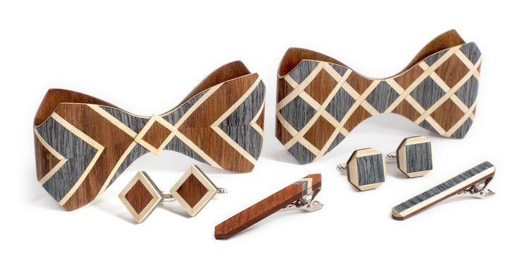 Комплект ТВИД2 зажим для галстука и запонки от БАГ из дерева | Серый дуб / Клён / Красное дерево - Махагон L
