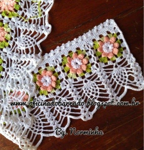 69. Pink Crochet Flowers with Lacy Pineapple Trim