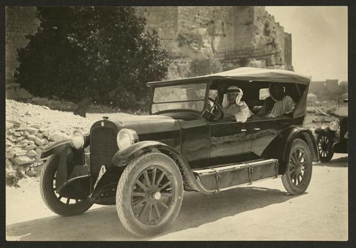 Arab men, old car, vintage photograph, Jerusalem, palestine
