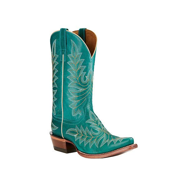 Ariat Brooklyn ($220) ❤ liked on Polyvore featuring shoes, boots, turquoise, western boots, shiny shoes, cowboy shoes, ariat and cowboy boots