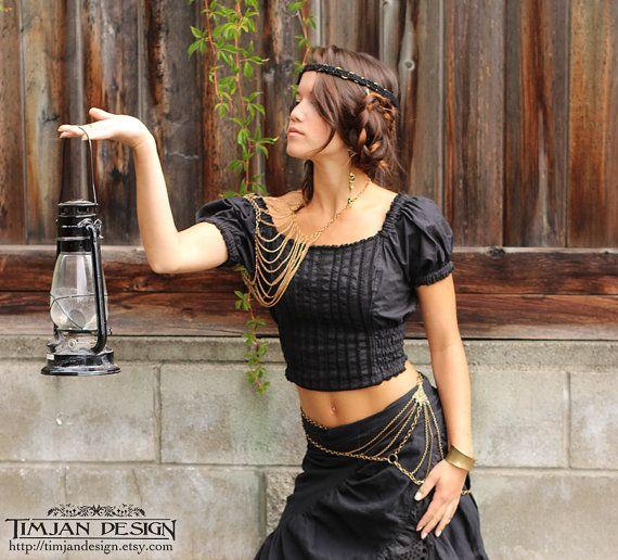 BAVARIAN PEASANT TOP  Blouse Steampunk Boho by TimjanDesignCanada, $46.00 (pretty body jewelry)