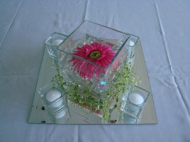 Six Square Vase Centerpiece With Gerbera Accent Wedding