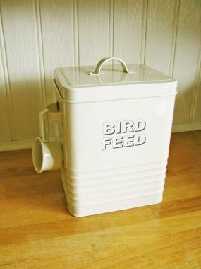 Vintage Style Cream Enamel Bird Food Tin