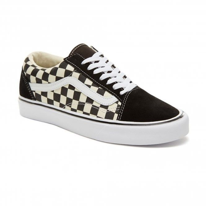 Mens Checkerboard Old Skool Lite Shoes Black White Vans Black Shoes Vans Checkerboard