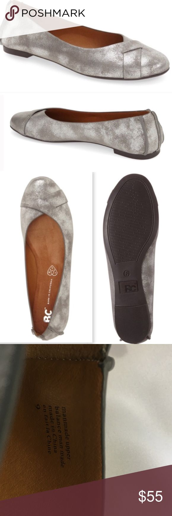 BC Pewter Metallic Ballet Flats BC Pewter Metallic Ballet Flats. Overlapping panels on rounded toe. Metallic glitter dusted finish. Vegan leather (synthetic) sz 9. New in Box bc born in california Shoes Flats & Loafers