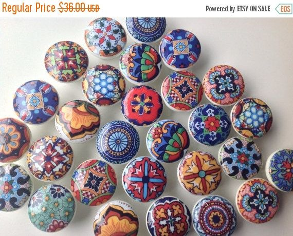 ON SALE wooden drawer knobs Talavera design  hand by LilandJill
