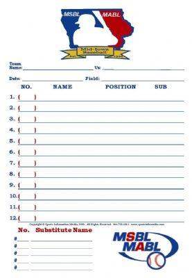 Baseball Lineup Card  Lineup And Team Mom