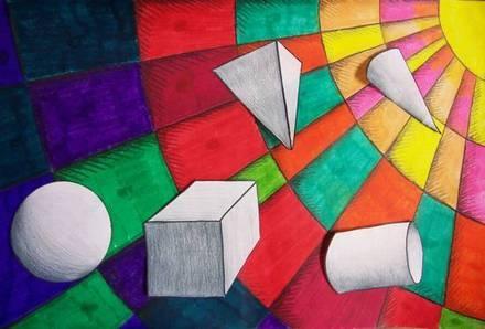 ruimtefiguren op kleurrijke achtergrond