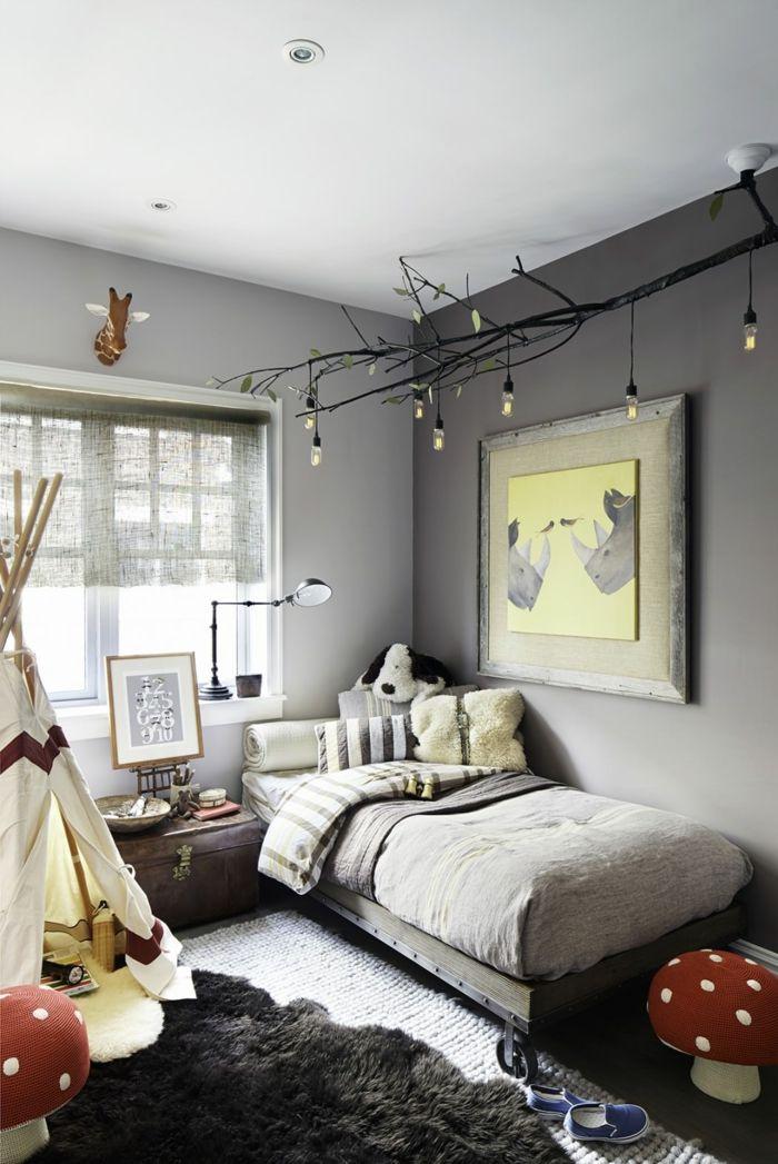 jugendzimmer einrichtung zelt schwarzer teppich coole beleuchtung