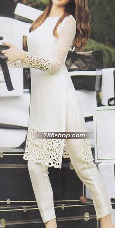 White Crinkle Chiffon Suit | 786Shop.com | Pakistani Indian Dresses.