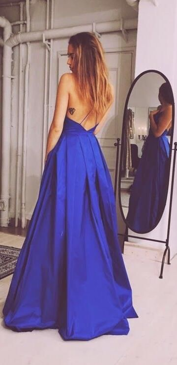 Royal Blue Prom Dress,Backless Prom Dresses,Sexy Evening Dress,New